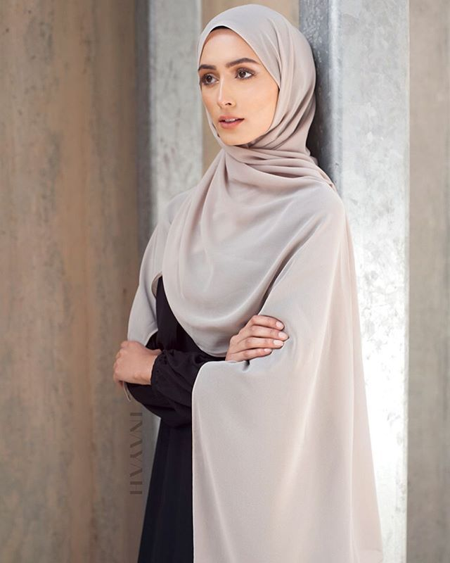 Classic & neutral tones - Black Layered Maxi Dress  Light Mushroom Soft Crepe Hijab  www.inayah.co