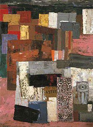 Antonio Berni. La casa del sastre, 1958, óleo y collage s/tela, 203,2 x 149 cm. Col. privada