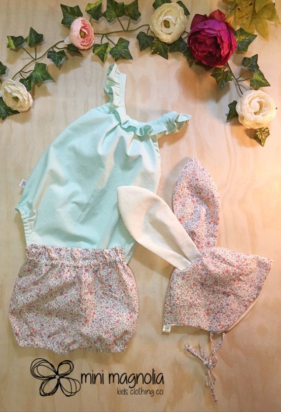 Minty Fresh Easter Bunny outfit for girls by MiniMagnoliaStore