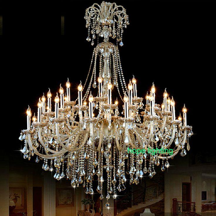 big hall lamp chandeliers Luxury champagne crystal chandelier large modern crystal chandeliers villa modern chandelier crystal