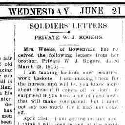 ROGERS, W. L. Private. Letter from WWI. Maryborough and Dunolly Adverstiser, 21 June 1916, p. 1, 'Soldier's letters'.