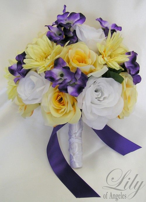"17 Pieces Package Silk Flower Wedding Decoration Bridal Bouquet YELLOW PURPLE ""Lily Of Angeles"""