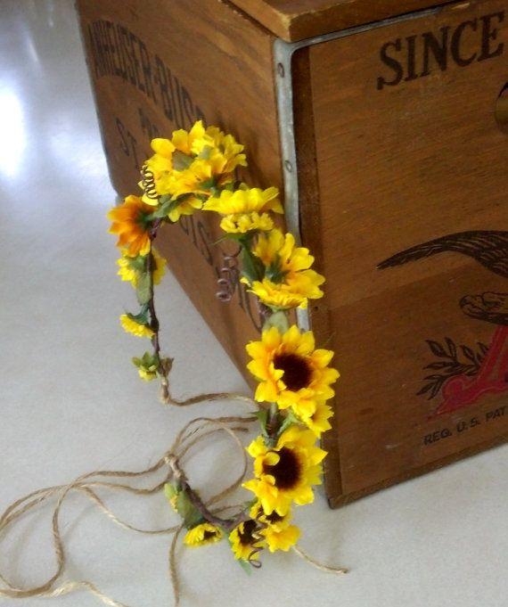 Sunflower Bridal Floral Crown Woodland Rustic Hair wreath Bridal headpiece yellow gold circlet hair garland festivals Wedding Accessories