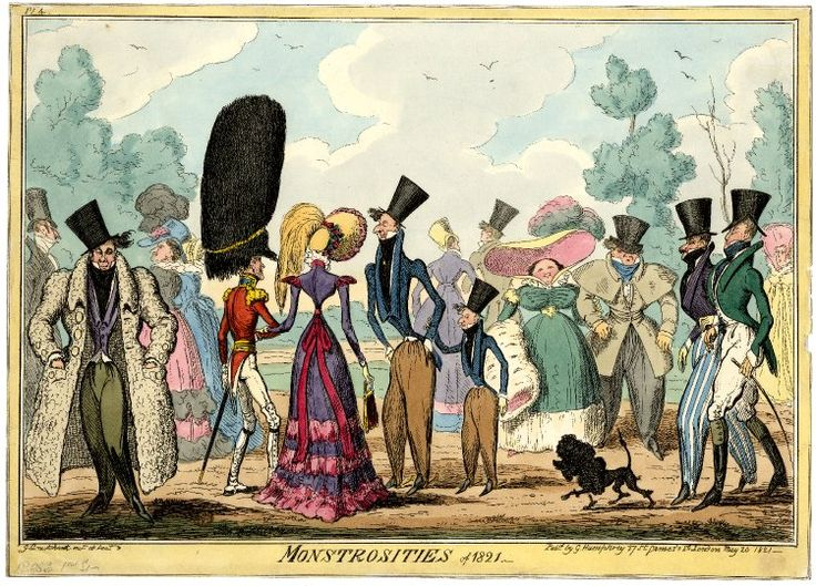 Monstrosities of 1821. 20 May 1821. Hand-coloured etching by George Cruikshank, © Trustees of the British Museum