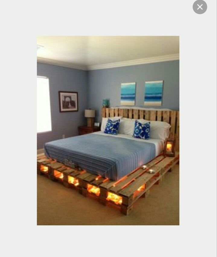 Just a picture i found, not claiming any rights to this. I absolutely love love love this. This is i believe a California King sized bed with sanded down wood pallets with white lights lining the inside of them. In love!