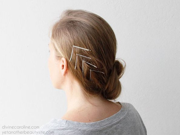 Get creative with a chevron-inspired design: | 21 Bobby Pin Hairstyles You Can Do In Minutes