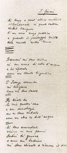 """Autografo de """"I fiumi"""" conservato presso la Biblioteca Malatestiana."""