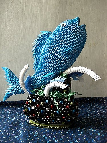 3d origami fish in the fountain paper crafts pinterest fish origami and 3d origami. Black Bedroom Furniture Sets. Home Design Ideas