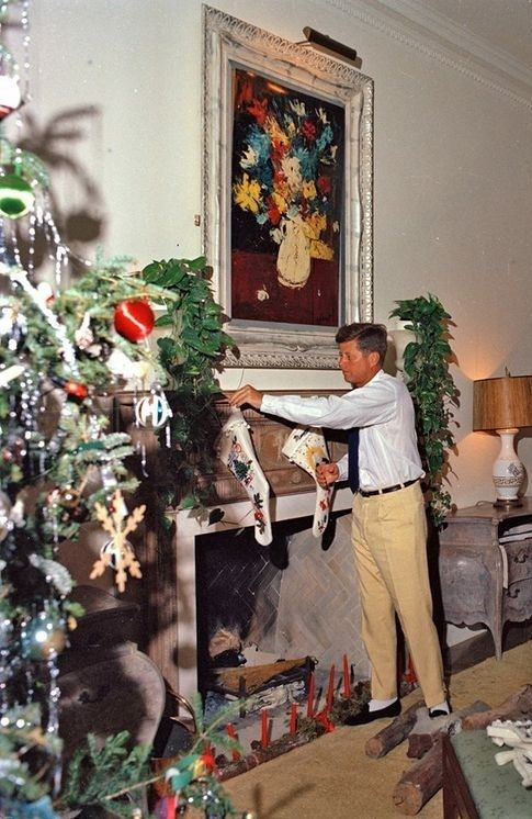 President Kennedy at Holiday time.