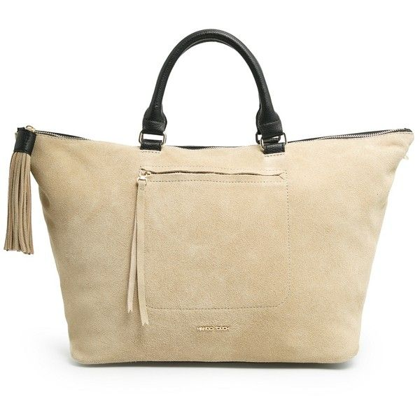 MANGO Suede tote bag (335 CNY) ❤ liked on Polyvore featuring bags, handbags, tote bags, black, tassel purse, tote purses, strap purse, zip top tote and mango tote bag