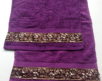 Purple Hand Towel set of 2,  Decorative Bathroom decor, Gift for Her, Housewarming Gift, Holiday Gift for New Home, Purple Lace towel Set by blingscarves. Explore more products on http://blingscarves.etsy.com