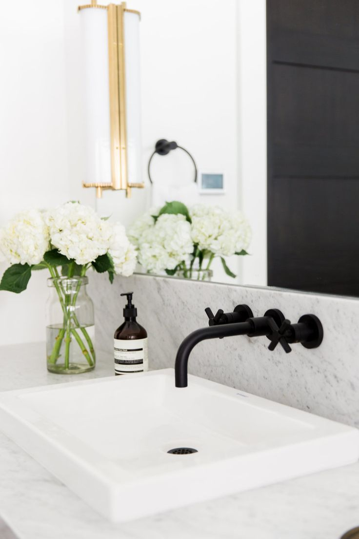 Faucet And Shallow Sink Matte Black Fixtures || Studio McGee