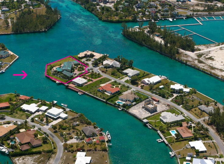 Aerial View Onto Waterfront Home For Sale In Grand Bahama Waterfront Homes For Sale