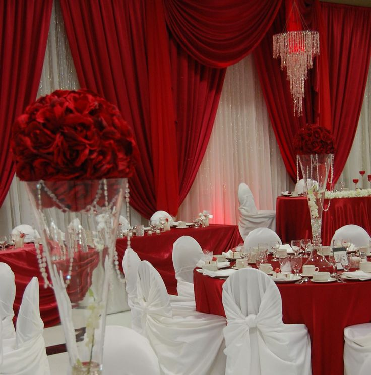 Red And White Backdrop And Decor
