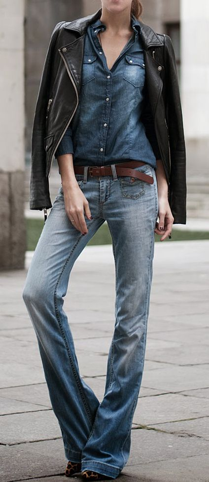 Denim for now. Rework your wardrobe staples: leather biker jacket and denim shirt worn with a wide flare.