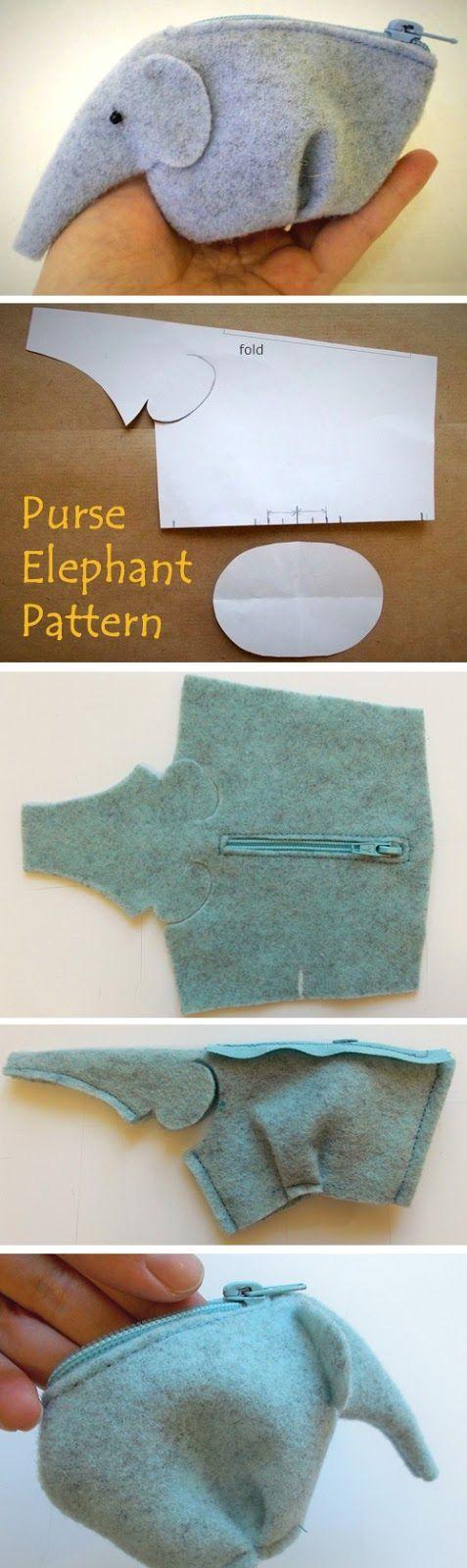 DIY Elephant Purse Tutorial - www.adizzydaisy.com