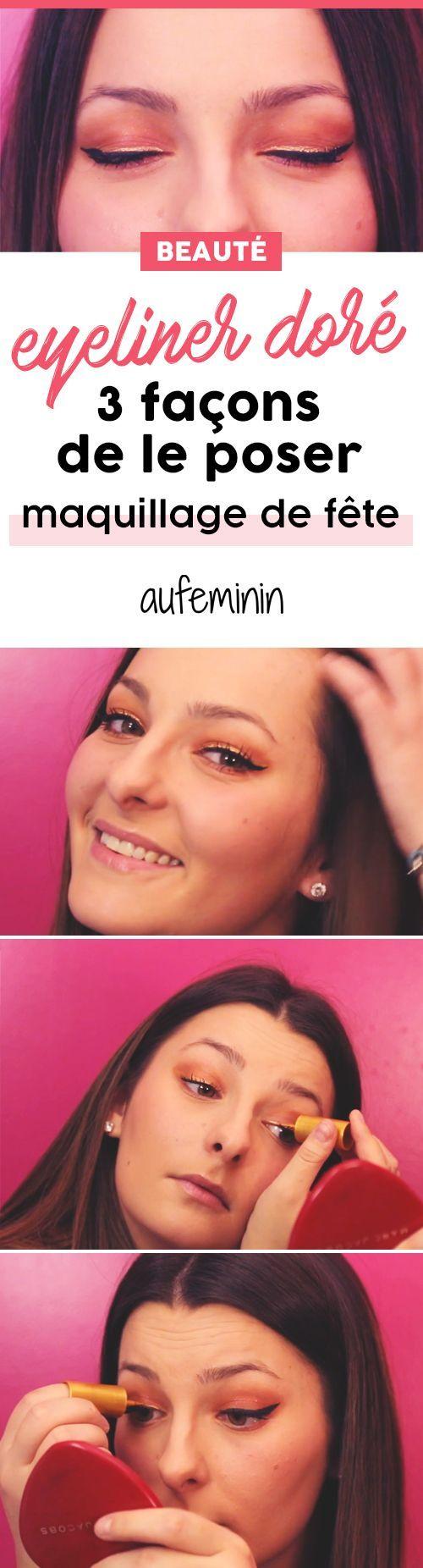 L'eye-liner doré, vas-tu oser ? On te montre comment l'appliquer avec un petit tuto maquillage de fête super facile. /// #aufeminin #eyeliner #doré #maquillage #lookdefête #fête #réveillon #paillettes #glitter #beauté #DIY #tuto
