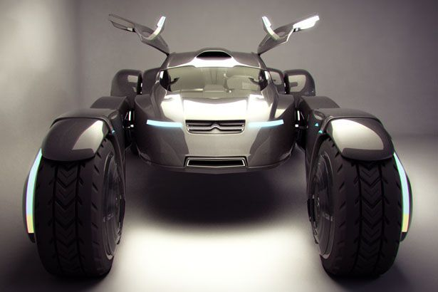 two-seater off-road vehicle is powered by electric motors that are located within each wheel hub that lower its center of gravity and greatly improve handling.