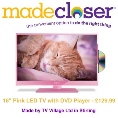 """Product of the Week: 16"""" Pink LED TV with DVD Player made by TV Village Ltd in Stirling"""