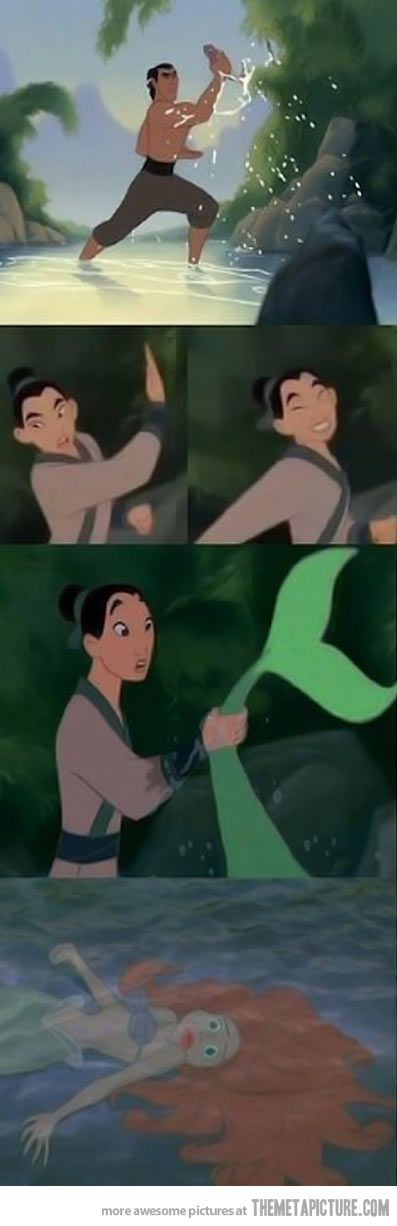 Just Mulan catching a fish when suddenly…