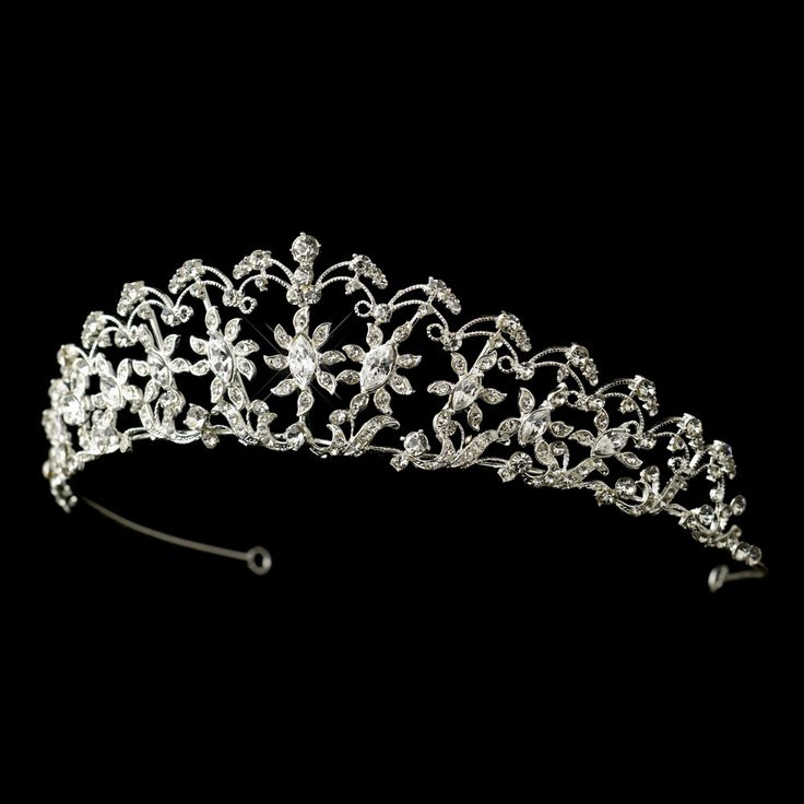 Floral Rhinestone Tiara for Wedding or Quinceanera - new style from Affordable Elegance Bridal -