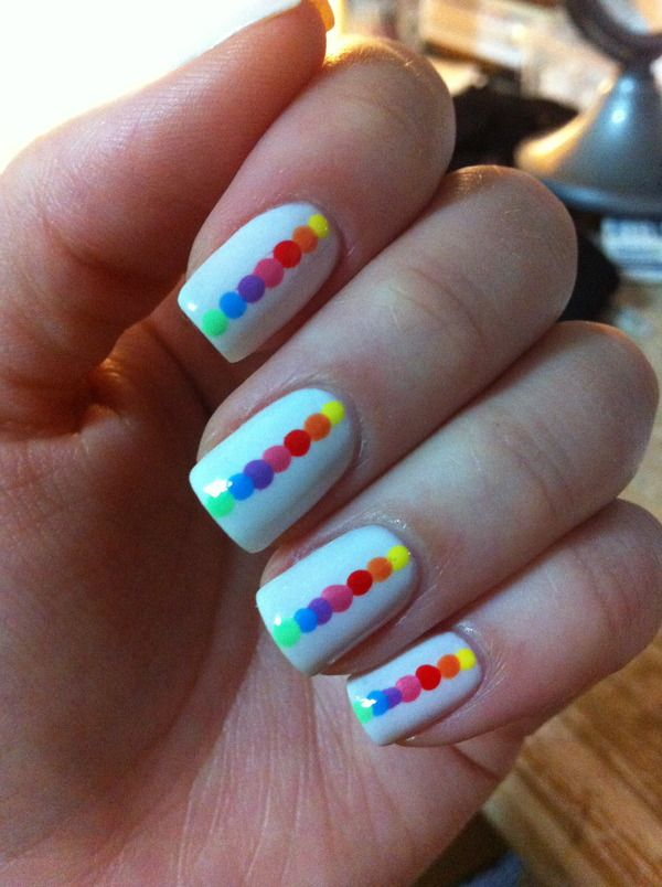 Love these colorful rainbow dot nails via B. Nails Challenge: photo by  Marcela F. - 124 Best Rainbow Nails Images On Pinterest Rainbow Nails, 31 Day
