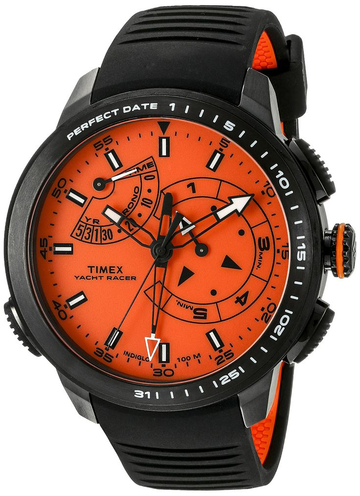 Timex Men's TW2P73100DH Intelligent Quartz Collection Watch with Black Band. Round watch with bidirectional bezel featuring orange dial with yacht-racing mode. 47 mm stainless steel case with mineral dial window. Quartz movement with analog display. Silicone band with buckle closure. Water resistant to 100 m (330 ft): In general, suitable for swimming and snorkeling, but not scuba diving.