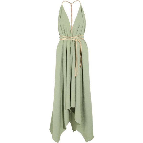 Caravana Yatzil asymmetric leather-trimmed cotton maxi dress ($360) ❤ liked on Polyvore featuring dresses, maxi dresses, sage dress, tie-dye maxi dresses, twist dress and green maxi dress
