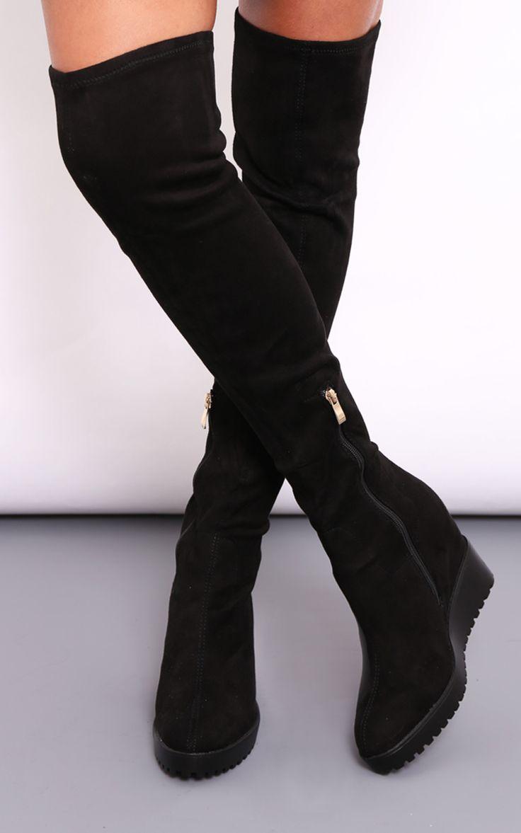 Jody Knee High Black Suede Wedge Heel Boots - SilkFred