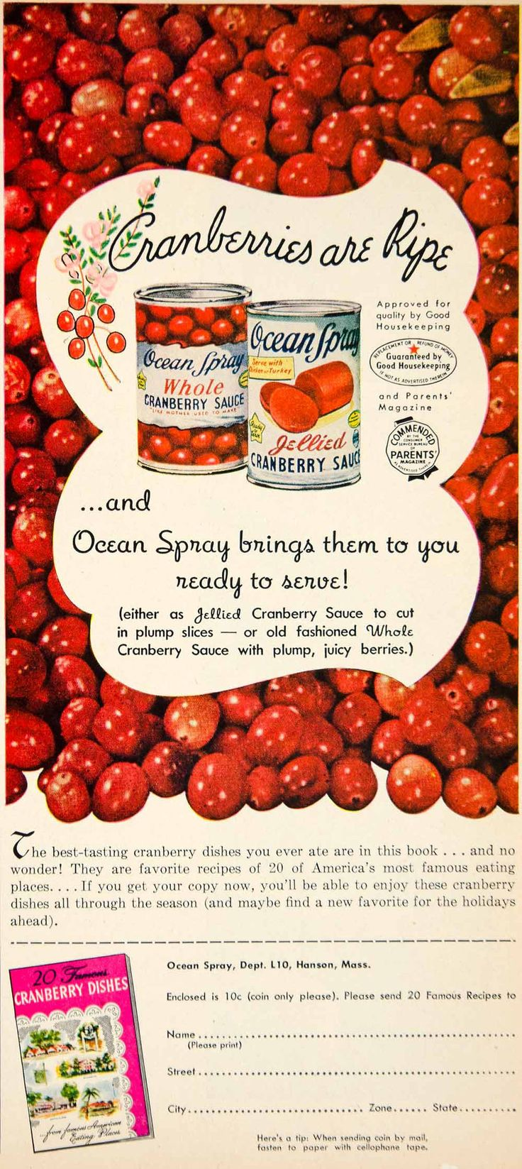 1951 ad ocean spray jellied cranberry sauce canned food