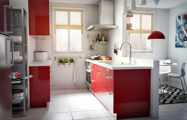 IKEA Österreich, Inspiration, Küche, rot, modern, Oberschrank ...