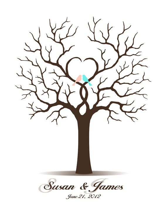 Wedding Tree Guest Book - Printable PDF File - Digital Fingerprint Signature Tree - Thumbprint - Custom color, size, text and language on Etsy, $18.00