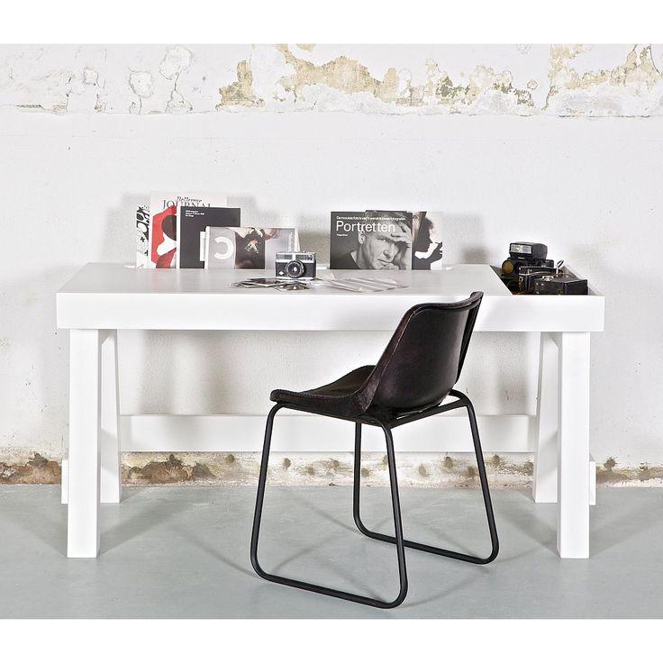BePureHome Bureau Grooving 150 cm - Wit/Zwart