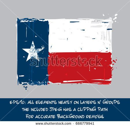 Texan Flat Flag - Vector Artistic Brush Strokes and Splashes. Grunge Illustration, all elements neatly on layers and groups. The JPEG has a clipping path for accurate background removal