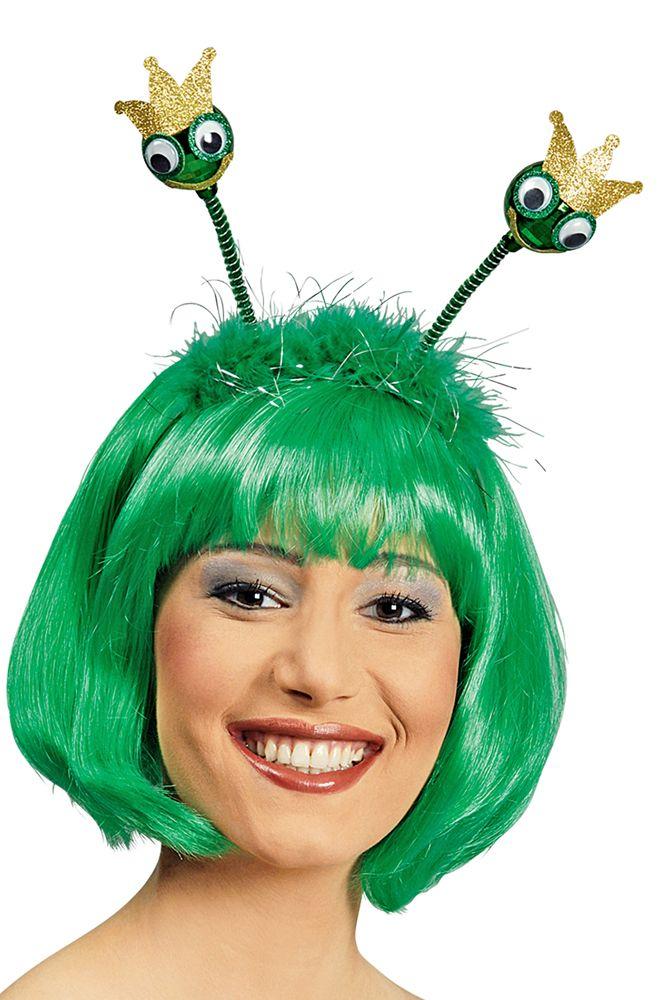 Mit diesen süßen Haarreif haben Sie Ihren ganz persönlichen Froschkönig immer mit dabei zu Karneval, Fasching oder der Mottoparty! Der schöne Haarreif  ist mit grünen Marabou Federn mit silbernen Glitzerstreifen verziert und die Froschköpfchen haben Kolleraugen und eine goldene Krone.