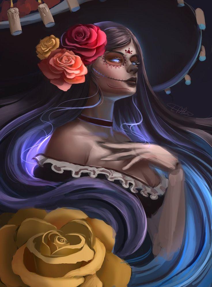 Dia de Muertos by Whails.deviantart.com on @DeviantArt - More at https://pinterest.com/supergirlsart #female #fantasy #art