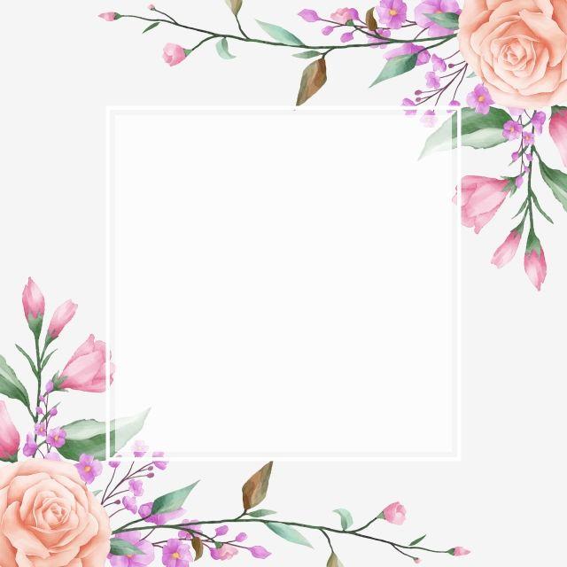 Lindo Quadro Floral Com Moldura Branca Quadrada Floral Aguarela Jardim Imagem Png E Vetor Para Download Gratuito Aquarela Floral Floral Png Floral