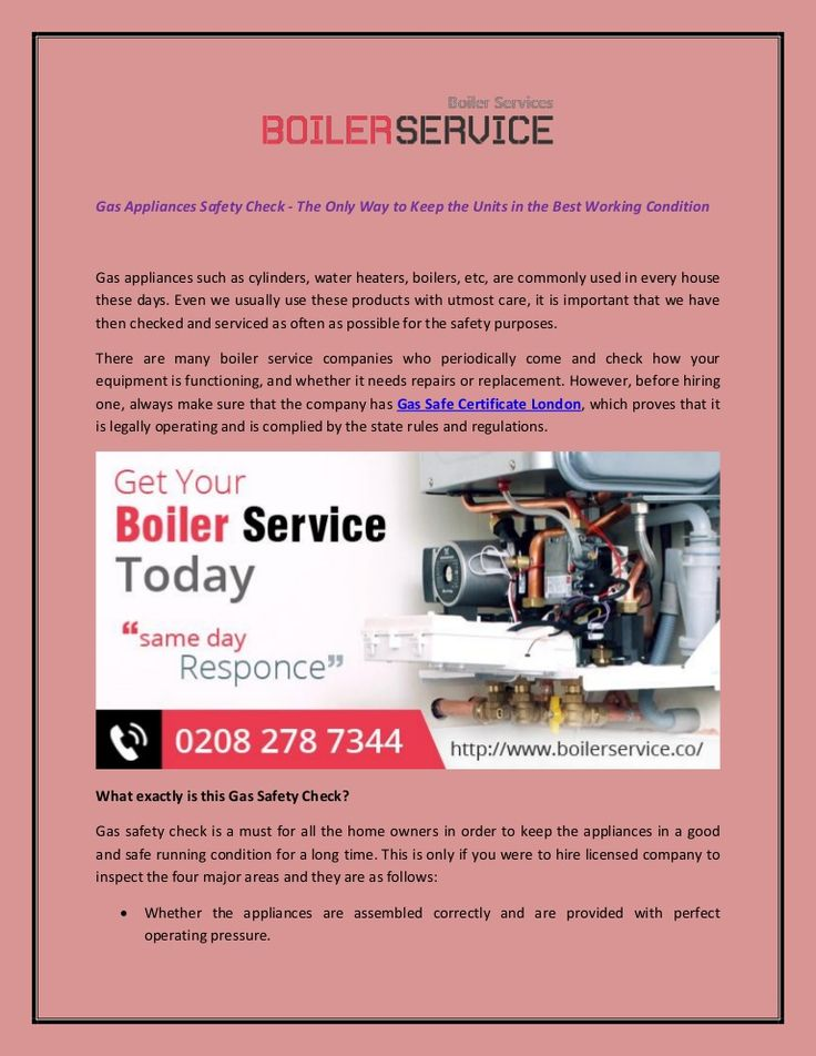 Gas Appliances Safety Check... | Boiler Service London | Pinterest
