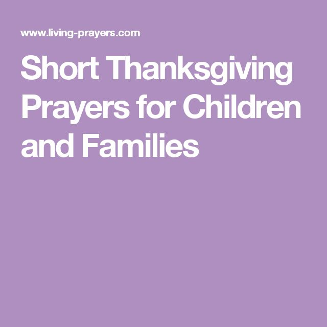 Short Thanksgiving Prayers for Children and Families