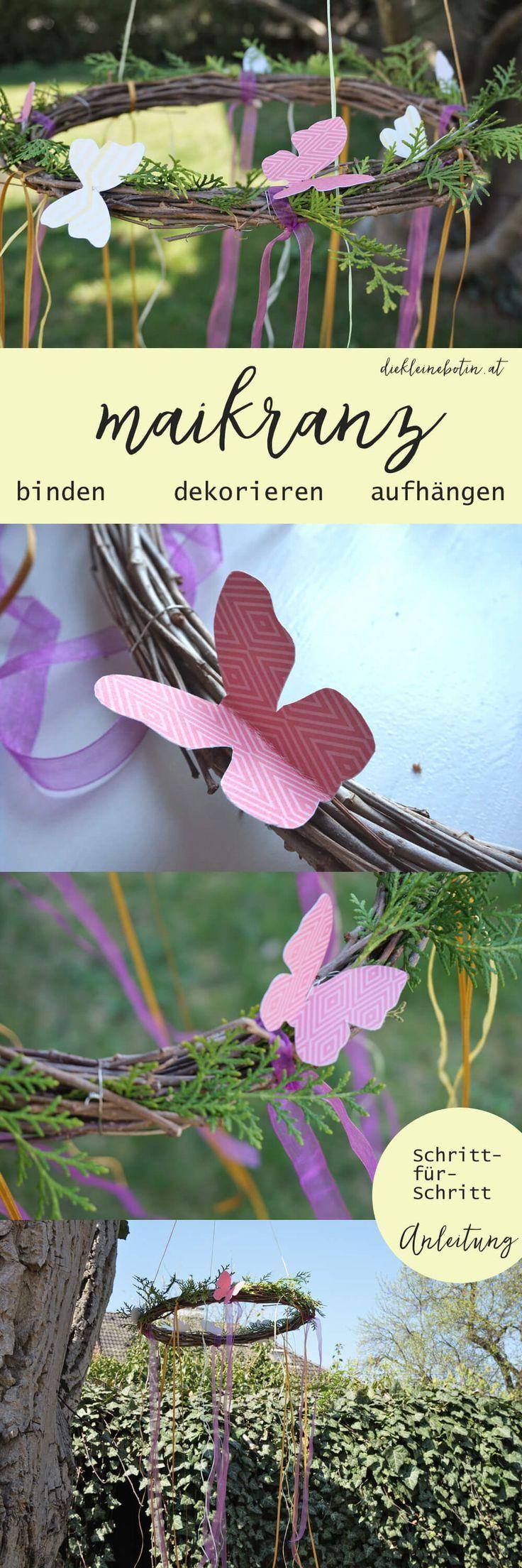 Ein zauberhaftes DIY für den Frühling. Dekoration zum Selbermachen für Terrasse und Garten: Der Maikranz. Die Schritt für Schritt Anleitung und Material-Infos gibts im Link.