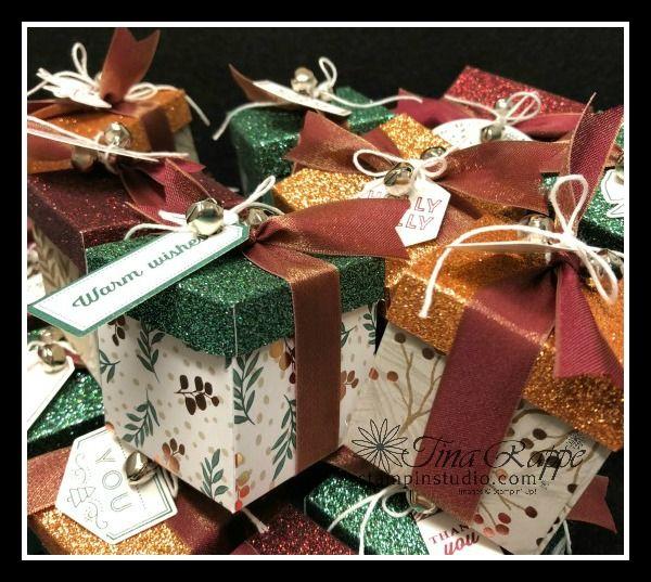 Joyous Noel Gift Box With Tags Tidings Bundle Stampin Studio Noel Gifts Gift Card Boxes Diy Gift Box