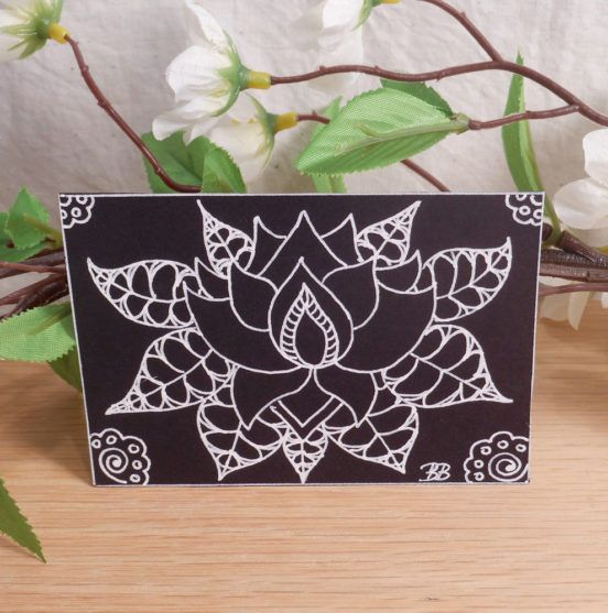 ACEO Lovely Lotus Zen Tangle Art Card by Briana Blair - Flower Buddhist