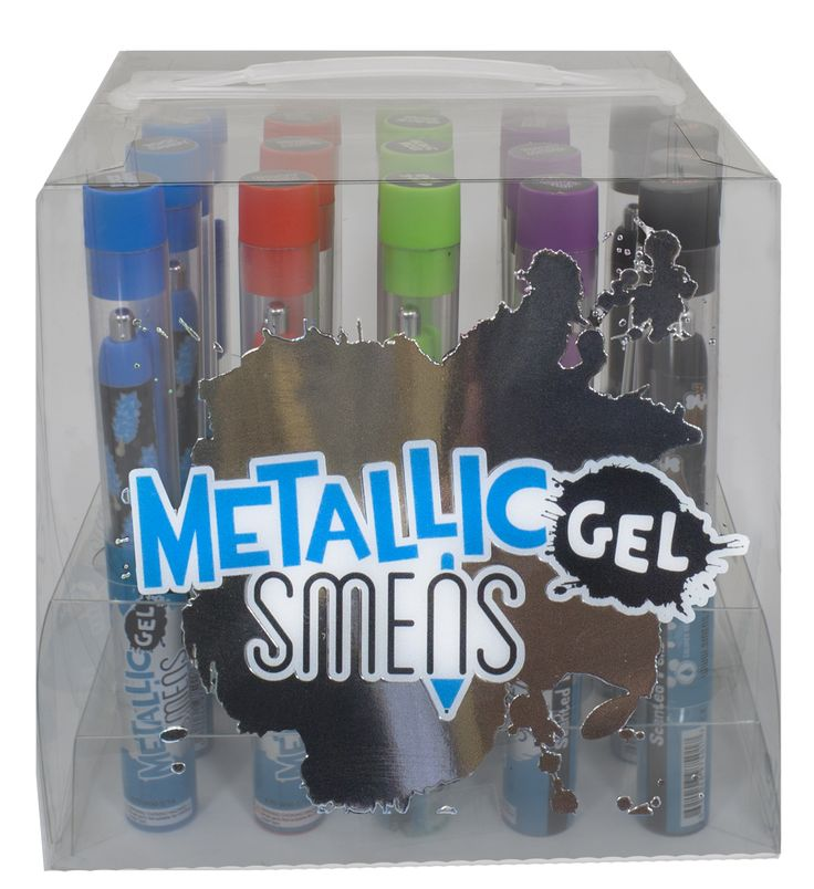Show clickable metallic gel colored gourmet scented pens.
