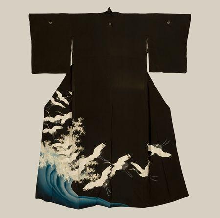Japan, silk kurotomesode, yuzen and silver foil, flying cranes and weave design, Meiji period