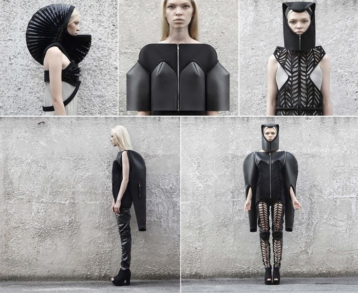Irina Dzhus - Winter 2012 Collection Hiver.  modulable, transformable, monochrome (noir). Objet métaphysique (veut faire passer un message ), vêtement post-apocalyptique, biomorphisme et biomimétisme (carapace), accordéon