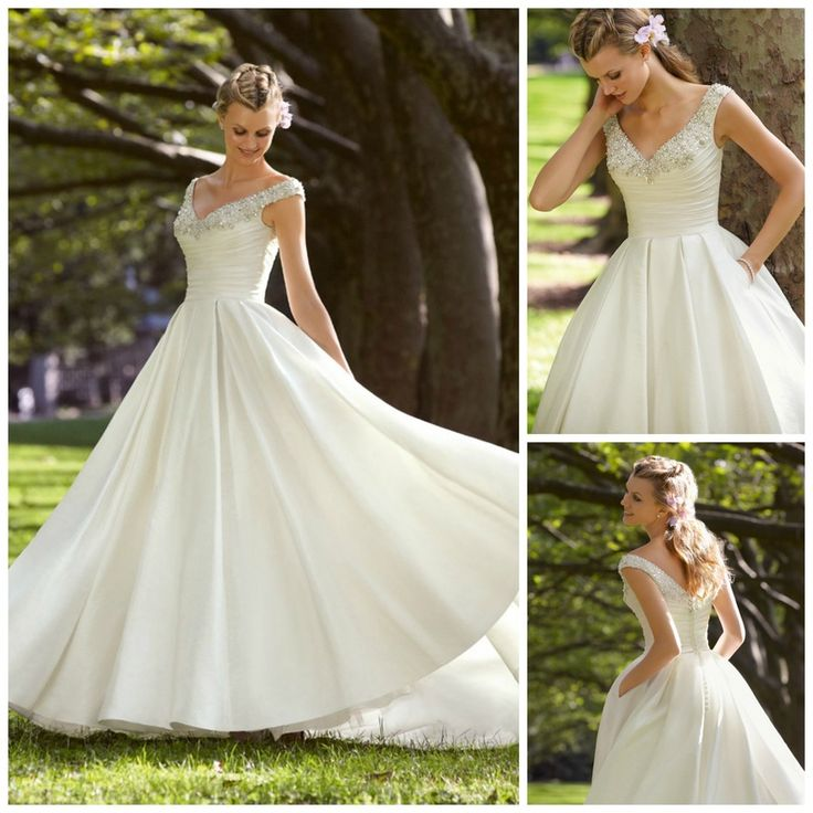 V-neckline wedding dress. http://www.weddingthingz.com/1/post/2013/10/wedding-dress-wednesday-v-neckline-dresses.html