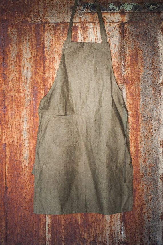 Vintage canvas apron soviet green waxed apron military army apron industrial apron mens canvas apron woodworker's apron workshop apron  PetersVintage etsy £23.60