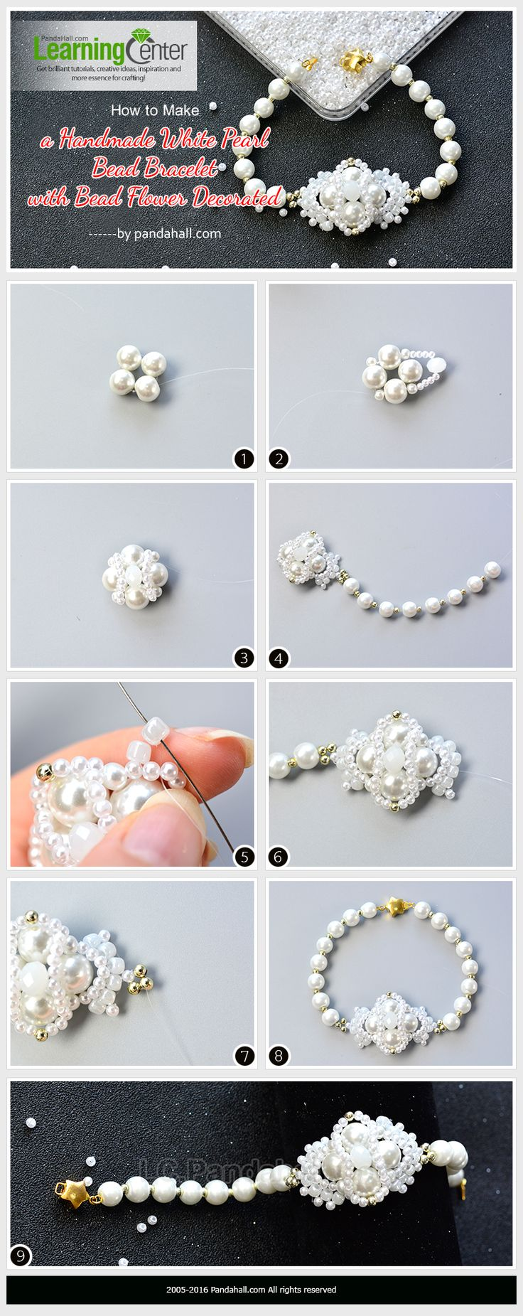 How to Make a Handmade White Pearl Bead Bracelet with Bead Flower Decorated from LC.Pandahall.com