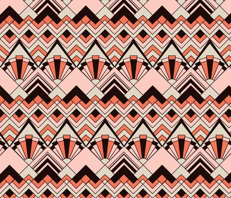 Pink Gold Art Deco fabric by katieschrader on Spoonflower - custom fabric