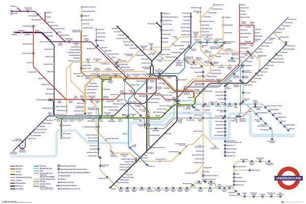 East Urban Home 'Transport For London Underground Map' Framed Memorabilia Format: White Plastic Frame